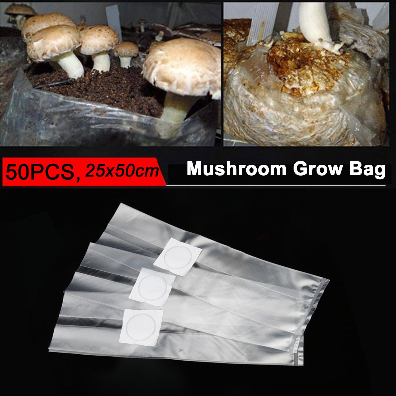 Behogar 50pcs Mushroom Spawn Growing Bag 0.2 Micron Filter Breathable 6 Mil Edible Fungus Cultivation Bag For Gardening Planting