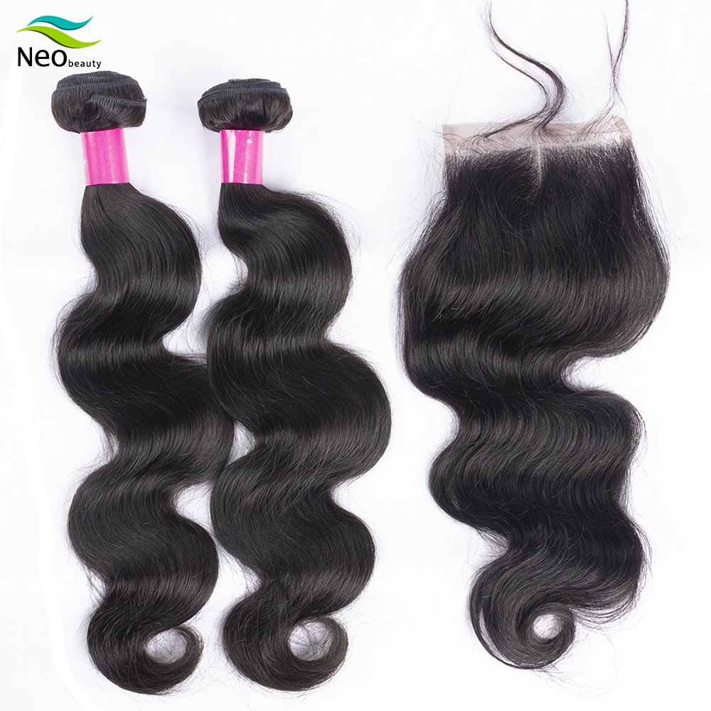 Neobeauty  Body Wave Bundles With Closure Brazilian Hair Weave Bundles With Closure Human Hair Extension Long Hair 8-34 36 38 40