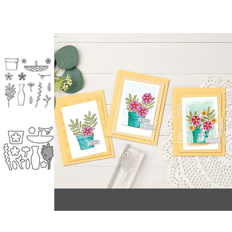 ЙК ваза для цветов в горшках резки металла умирает и снимите резиновые штампы скрап Крафт трафарет DIY сделать карты листовые формы модели