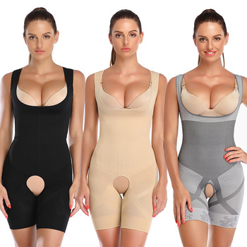 Shapewear Women Full Body Shaper Slimming Bodysuit Open Crotch Corset Waist Trainer Shaping Underwear Postpartum Recovery Sheath
