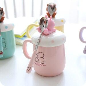Image 4 - OUSSIRRO taza de cerámica con dibujos de animales para parejas, taza de café, leche, taza de oficina, cuchara con tapa