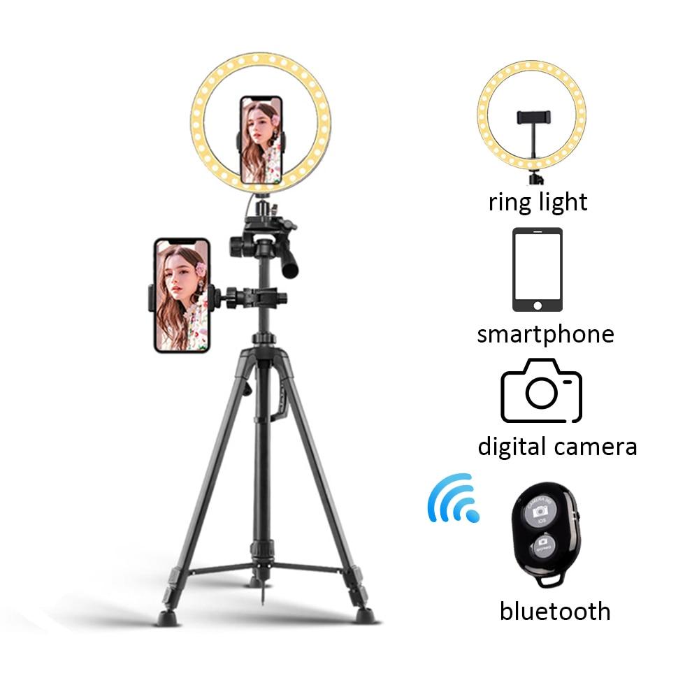 Support extensible de trépied d'appareil-photo de téléphone avec la lumière d'anneau de Selfie de Bluetooth avec la Tripode pour la vidéo en direct avec le support pour téléphone