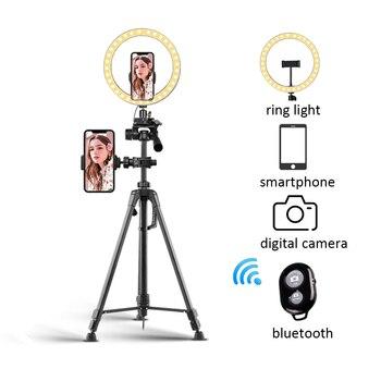 Wysuwany aparat telefoniczny stojak trójnóg z Bluetooth Selfie lampa pierścieniowa z tripodem do wideo na żywo z uchwytem na telefon