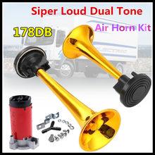 12/24V 178dB Air Horn with Compressor,Super Loud Dual Tone Air Horn Set Trumpet Compressor for Motorcycle Car Boat Truck