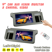9 (Left+Right) Car 2 Channel Video Sunvisor Rear View Mirror Screen Lcd Monitor For DVD/VCD/GPS/TV Input Signal Rearview Camera