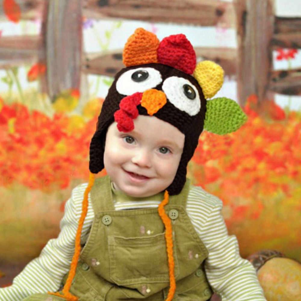 1 Máy Tính Dễ Thương Ngộ Nghĩnh Halloween Thổ Nhĩ Kỳ Nón Cho Bé Đạo Cụ Chụp Ảnh Chiken Nón Handmade Móc Thổ Nhĩ Kỳ Nón H5