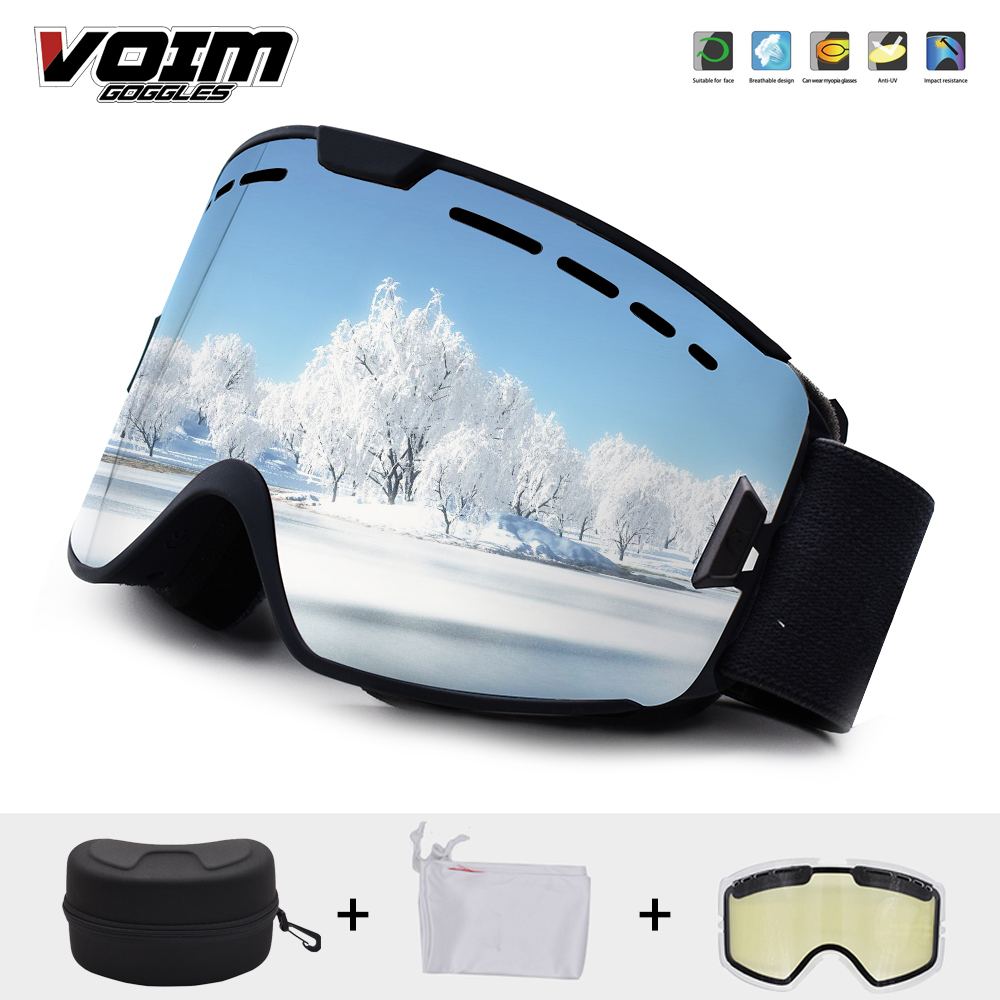 SKI Goggles Men Women Snow Goggles Double Layers Anti Fog UV400 Protective Skiing Glasses Snowboard Goggles Free Clear Lens