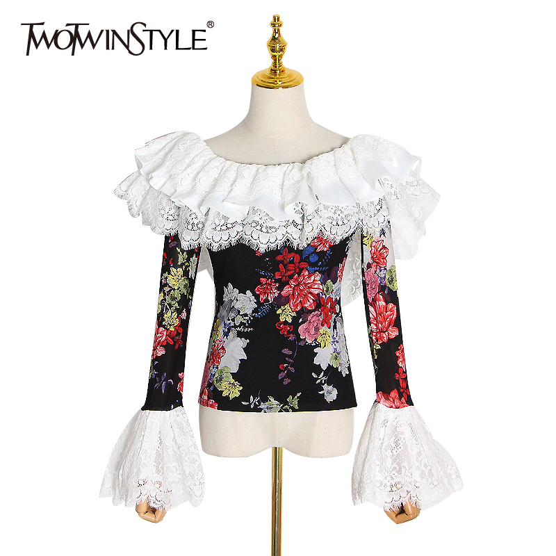 TWOTWINSTYLE Patchwork Lace Print Hit Color Shirt Women Slash Neck Flare Sleeve Ruffle Blouse Female Spring Fashion 2020 Clothes