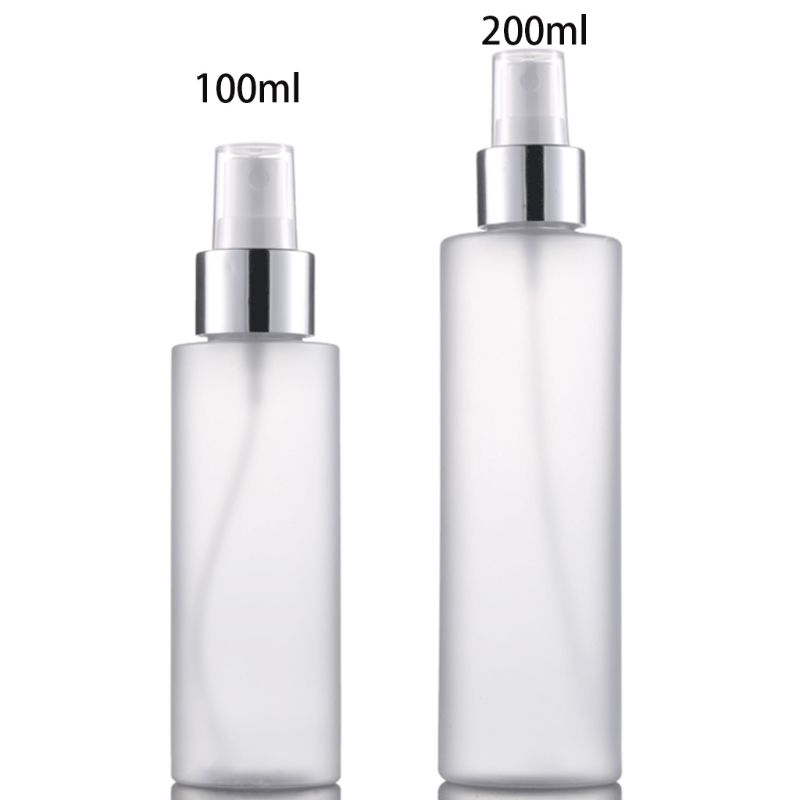 100/200ml Empty Refillable Plastic Spray Bottle Scrub Frosted Fine Mist Perfume Aluminum Atomizer Cosmetic Container Portable