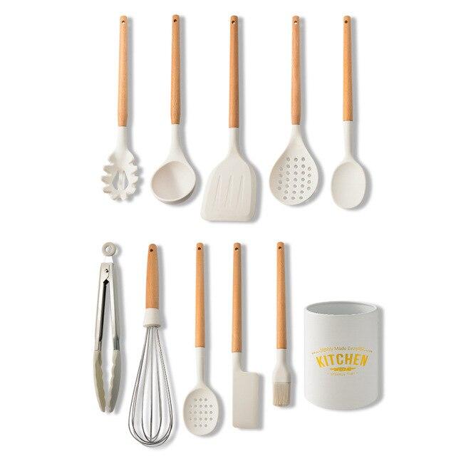 Branco cozinhar utensílios de cozinha ferramenta de silicone com alça multifuncional de madeira antiaderente espátula concha ovo batedores pá 6