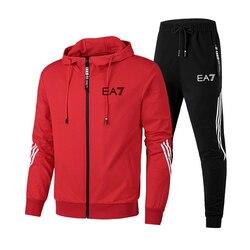 Осенняя мужская спортивная одежда, наборы для осени и зимы 2020, с капюшоном, на молнии, мужской повседневный спортивный костюм, мужской компл...