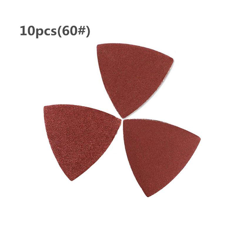 10pcs Triangle Grinder Sandpaper Pad 80mm Polishing Abrasive Paper Grit 40-800 N1HF