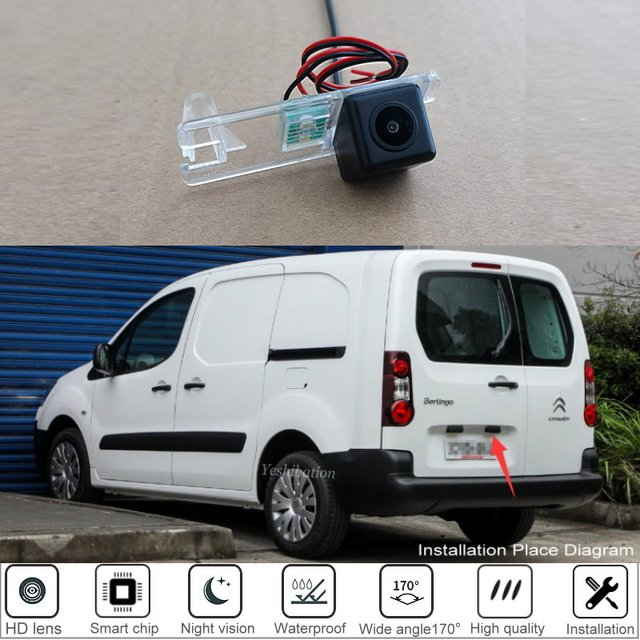 لسيتروين بيرلينغو البضائع فان 2008 2009 2010 2011 2012 2013 2014 2015 ~ 2019 HD سيارة للرؤية الخلفية احتياطية عكس كاميرا