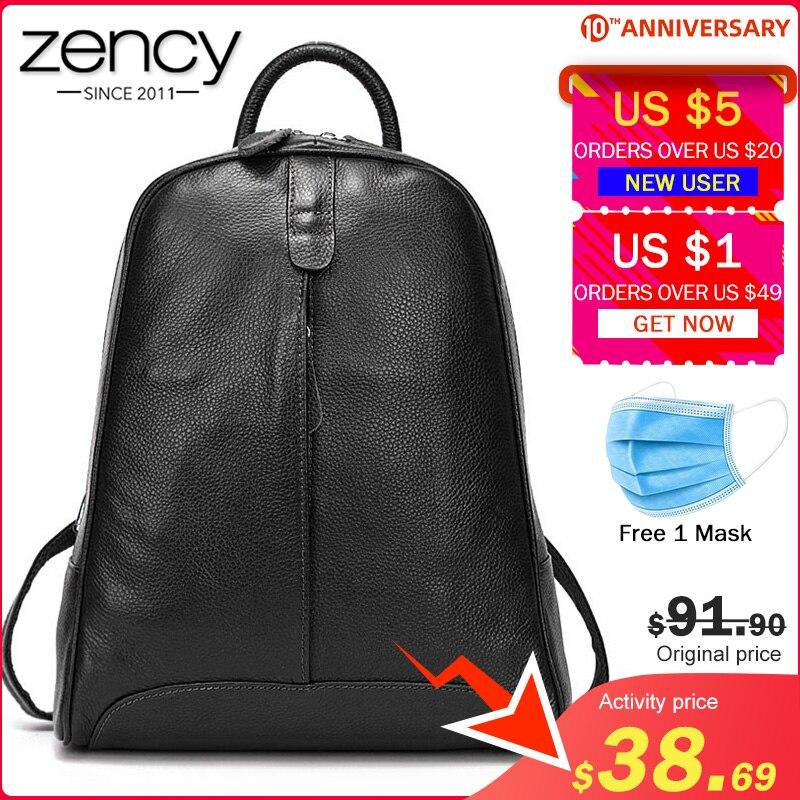 Zency 100% Soft Genuine Leather Fashion Women Backpack Casual Travel Bag Preppy Style Girl's Schoolbag Notebook Laptop Knapsack