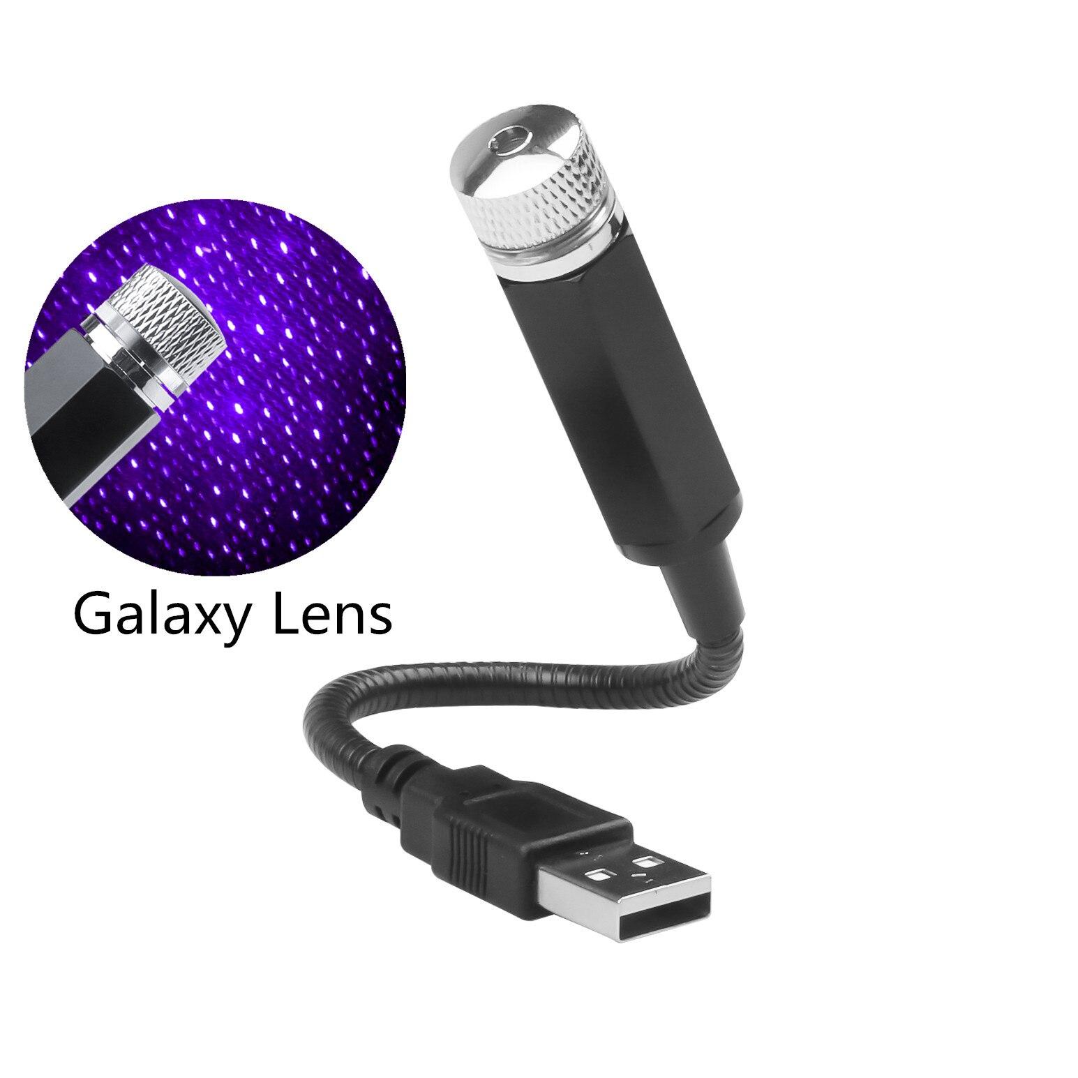 Светодиодный автомобильный мини-светильник с регулируемыми линзами и USB, лазерный проектор, атмосферный декоративный светильник для салон...