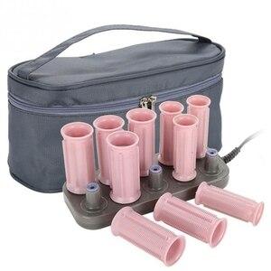 Image 1 - 10 pçs rolos de cabelo mágico tubo elétrico rolo aquecido modelador cabelo estilo varas ferramentas diy salão de beleza cuidados com o cabelo ferramentas de estilo eua plug