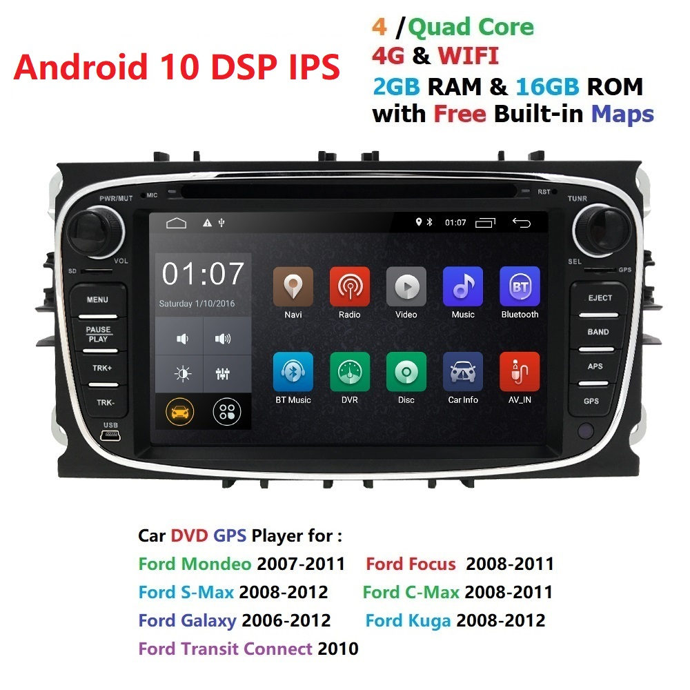 Car Multimedia Player <font><b>GPS</b></font> Android 10 2 Din DVD Automotivo For <font><b>FORD</b></font>/<font><b>Focus</b></font> /S-<font><b>MAX</b></font>/Mondeo/<font><b>C</b></font>-<font><b>MAX</b></font>/Galaxy Radio Monitor image