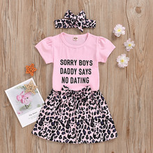 girls sets autumn winter 2020 new clothing children s set puff sleeve t shirt leather skirt 2pcs suit outfit baby kids clothes Girls Clothing Sets New Summer Short Sleeve T-shirt+Print Leopard Skirt 2Pcs for Kids Clothing Sets Baby Clothes Outfits