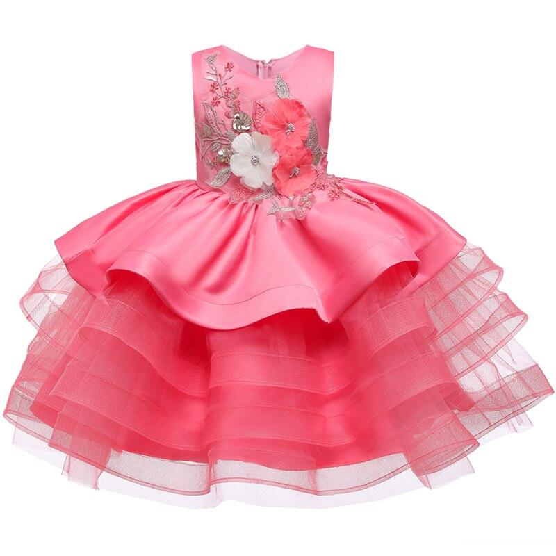 Атласное платье для первого причастия для маленьких детей; блестящее бальное платье; Пышное Платье; Платья с цветочным узором для девочек на свадьбу; платье для банкета сзади - Цвет: Watermelon red