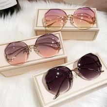 2021 erilles moda gradiente óculos de sol mulher oceano corte aparado lente metal curvo templos óculos sol feminino uv400 googles