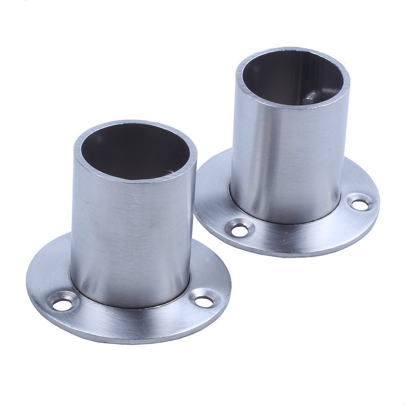 Wardrobe Stainless Steel Hanging Rail Socket End Support 2pcs for 25mm Dia Tube