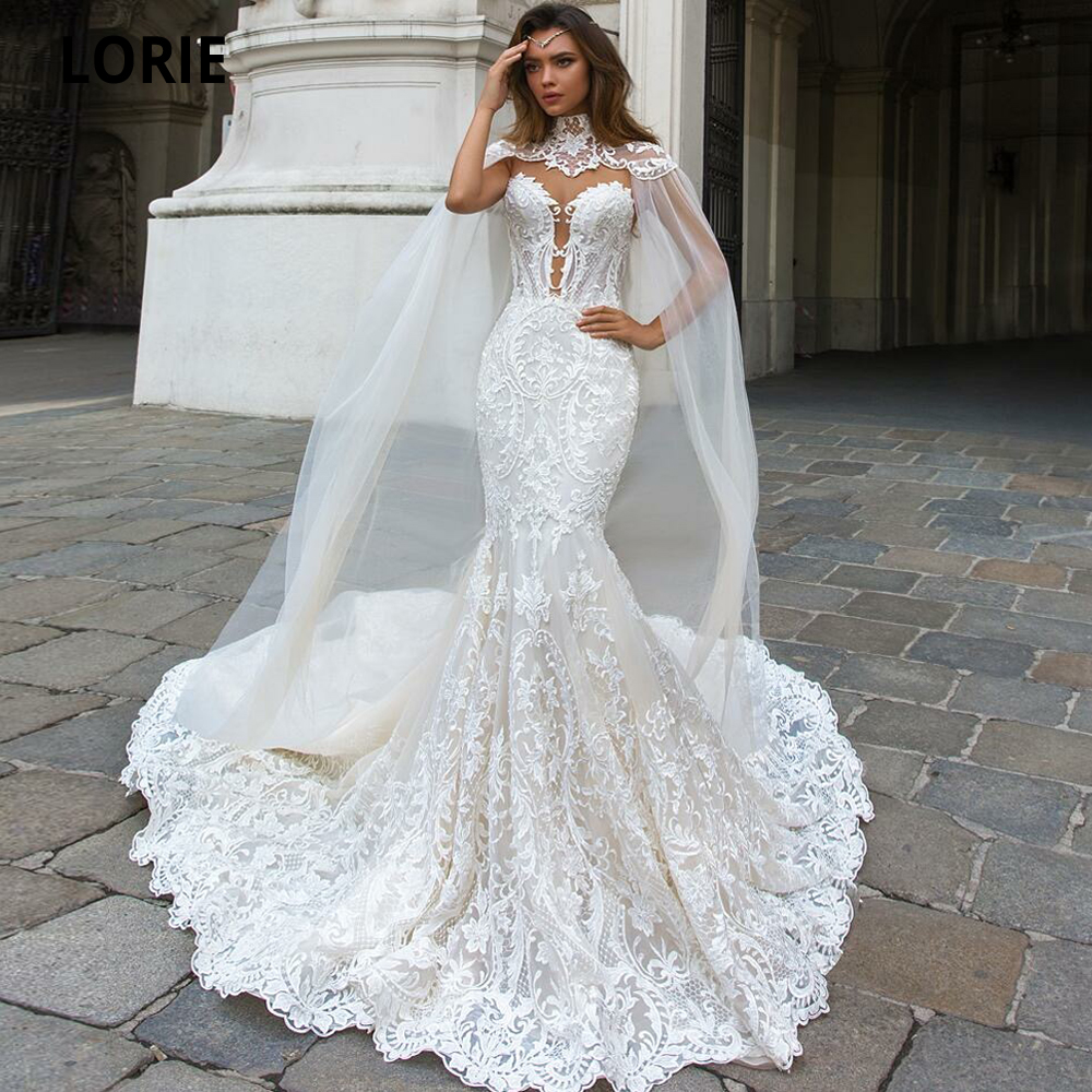 LORIE Elegant Full Lace Mermaid Wedding Dresses With Shawl Illusion Back Sleeveless Bridal Gown Royal Train Vintage Custom Made