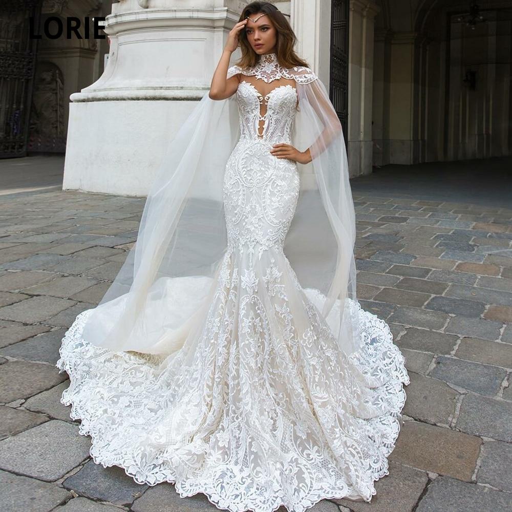 LORIE Elegant Full Lace Mermaid Wedding Dresses With Shawl Illusion Back Sleeveless Bridal Gown Royal Train Vintage Custom Made
