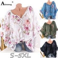 Aimsnug Plus size 4xl 5xl 2019 Women New Boho Print Flower Tops Batwing Sleeve Female T-Shirt Loose Casual Ladies Tee Shirt
