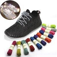 Cordones reflectantes luminosos para zapatos de mujer y hombre, cordones deportivos informales, redondos, accesorios, 120cm, 1 par