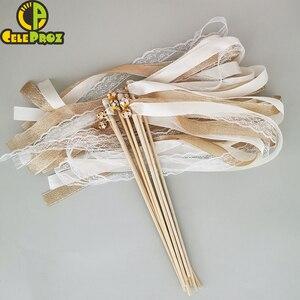 Image 2 - 50Pcs งาช้างริบบิ้นลูกไม้ Fairy Sticks กับระฆังงานแต่งงาน Twirling Streamers งานแต่งงาน Ribbon Stick NOISE Maker PARTY Supplies