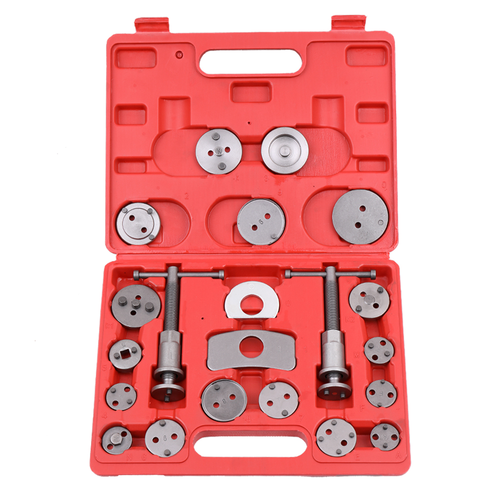21 pièces Auto universel frein à disque étrier voiture vent arrière Pad Piston compresseur Automobile Garage réparation Kit d'outils ensemble avec étui