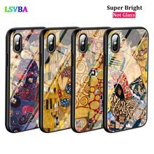 Black Cover Gustav Klimt Fashion for iPhone X XR XS Max for iPhone 8 7 6 6S Plus 5S 5 SE Super Bright Glossy Phone Case black cover japanese art for iphone x xr xs max for iphone 8 7 6 6s plus 5s 5 se super bright glossy phone case