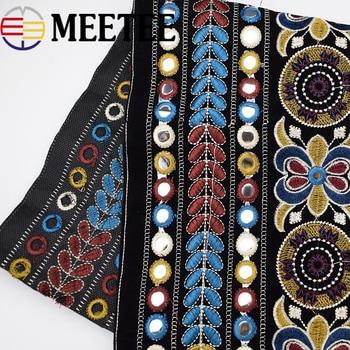 Cinta de encaje bordado nacional a la moda de 1 pulgada 28cm, cinta de Jacquard con moldura DIY para ropa, bolsa, accesorios, cinta decorativa, textil para el hogar