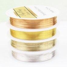 Fio de liga de cobre colorido para pulseira, cores dourada colar jóias acessórios diy 0.3/0.4/0.5/0.6mm fio de contas artesanais