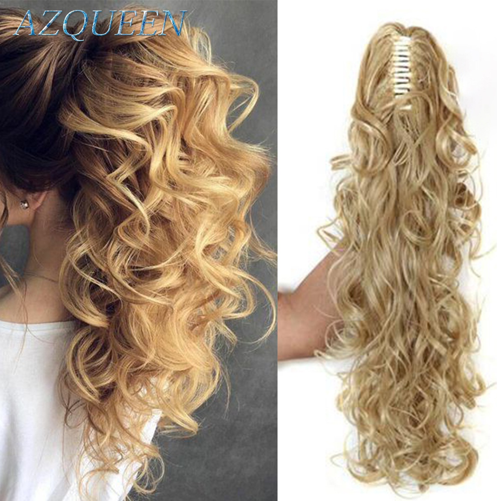 AZQUEEN 20 Inch Synthetic Fiber Claw Clip Wavy Ponytail Extension Clip-In Hair Wig For Women