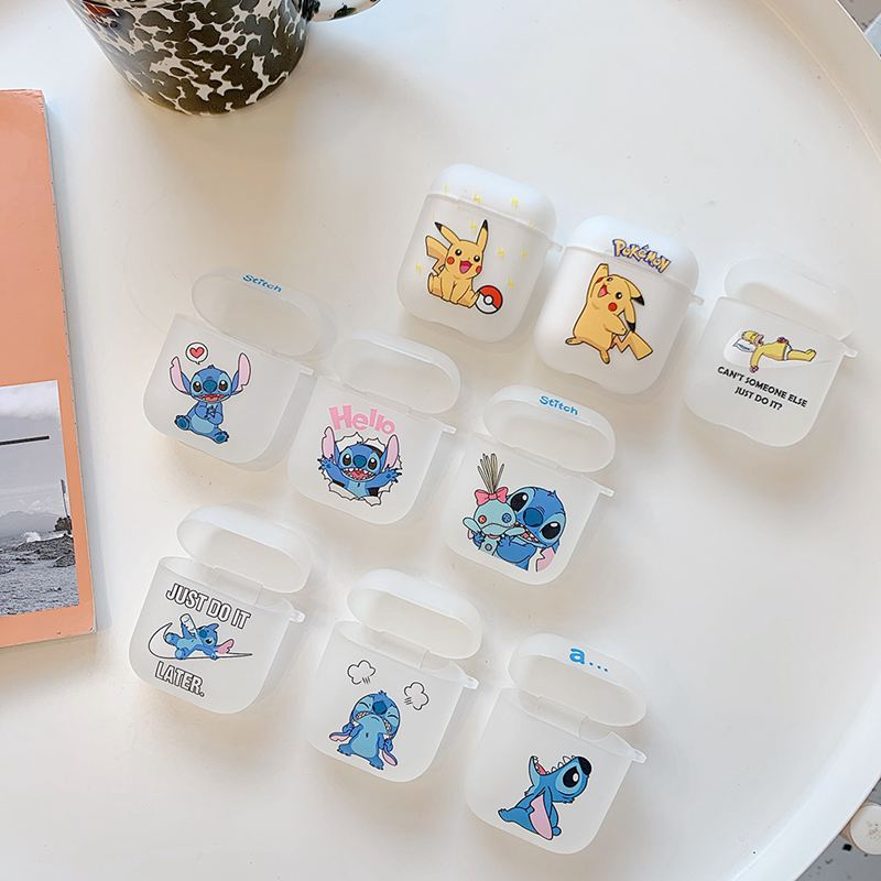 Bluetooth Earphone <font><b>Case</b></font> For Apple <font><b>Airpods</b></font> 2 1 Cartoon Stitch <font><b>Pikachu</b></font> Soft Silicone Wireless Headphones Cover For Apple Airpods2 image