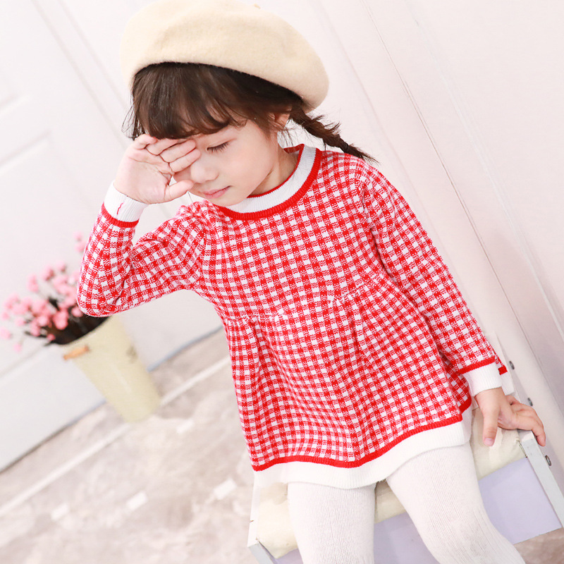 Girl'S Sweater 2018 Autumn And Winter New Style Jersey Dress Small CHILDREN'S Korean-style Plaid Wool Skirt Baby Doll Shirt Dres