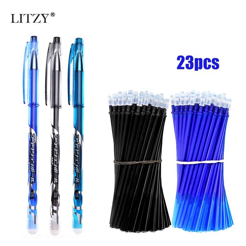 3+20Pcs Erasable Pen Refill Set Washable Handle Rod Gel Pen 0.5mm Blue/Black Ink Pens School Office Writing Stationery Tool Gift