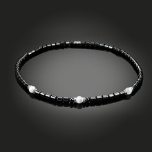 NJ Simple Classic Health Energy Healing Magnetic Hematite Therapy Beaded Surfer Necklace for Men and Women Jewelry