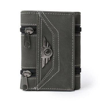 Cartera triple de piel sintética Estilo Vintage para hombre, billetera masculina, con...