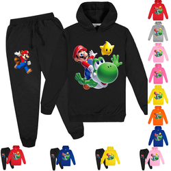New Mario Print boy Clothing Girls Set Kids Hoodies Tops Sweater Clothes + trousers Pants 2pcs Set Gifts Toddler Outfit 2-16T