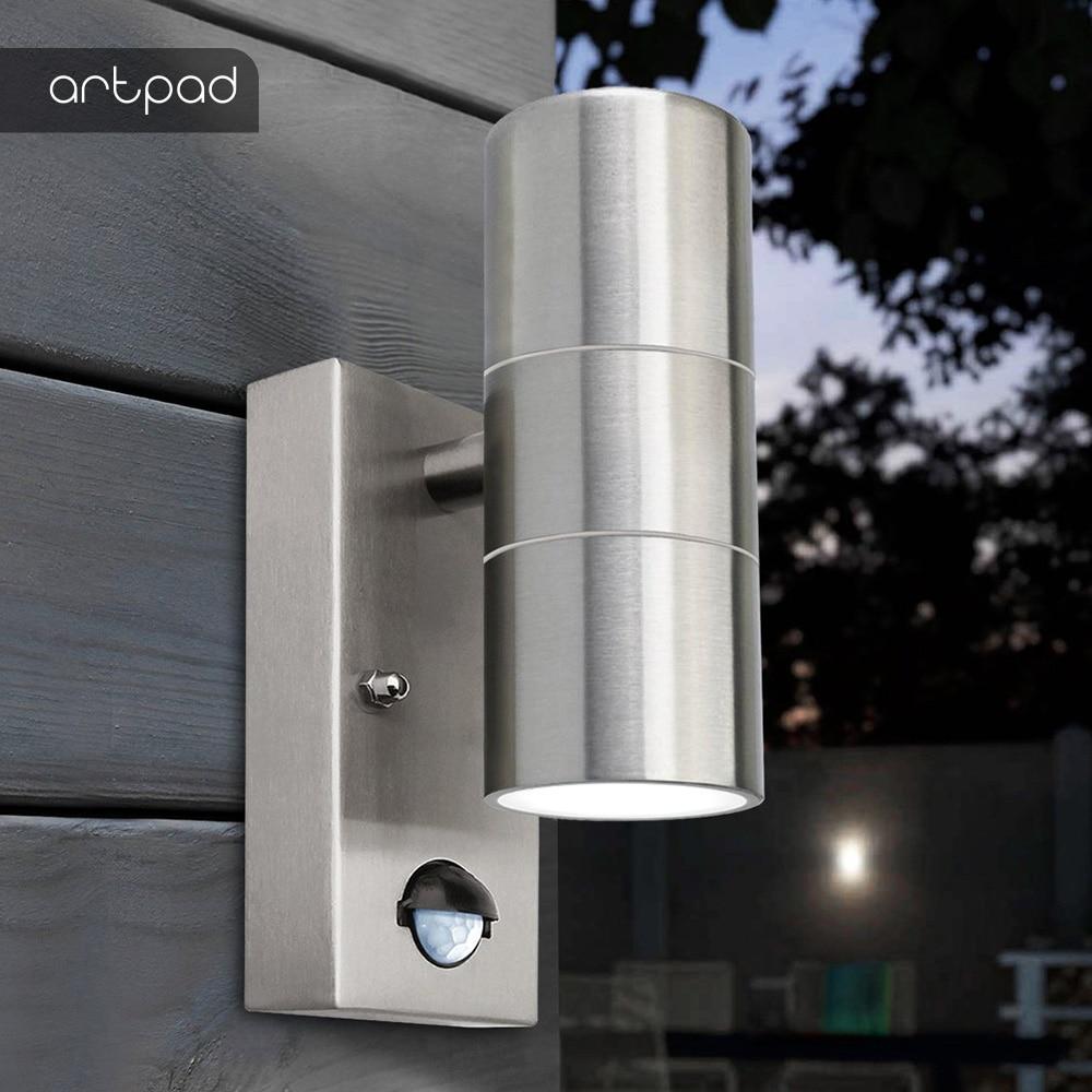Artpad Outdoor IP54 Garden Up Down Wall Light Dusk Till Dawn Sensor Stainless Steel Double Wall Spot Light Gu10 Bulb Included