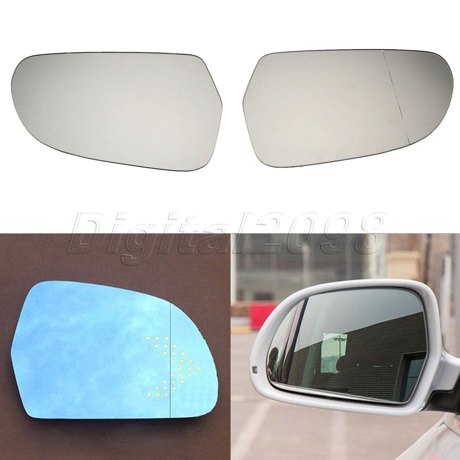 Audi A3 2008-2010 wing door mirror glass for Left passenger side heated