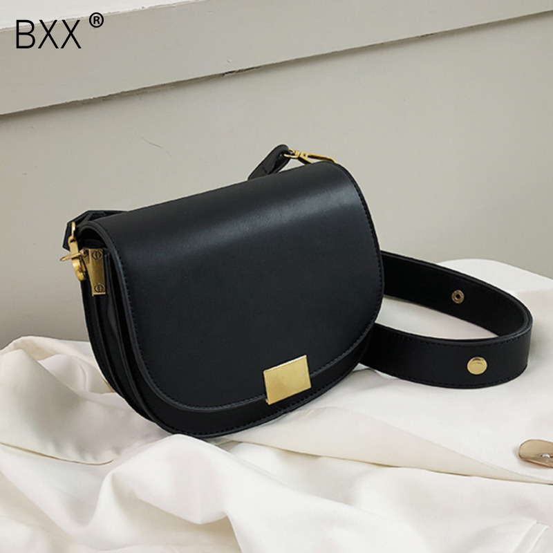 [BXX] Mini Solid Color PU Leather Saddle Bags For Women 2020 Fashion Crossbody Shoulder Messenger Bag Female Handbags HJ940