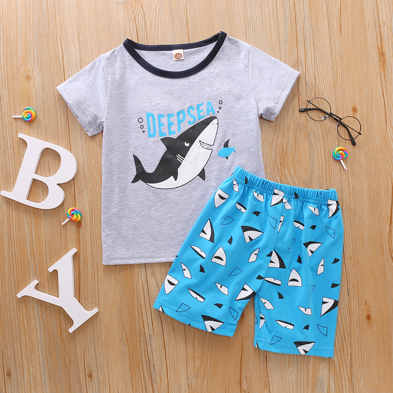 Little Boy's T-shirt and Shorts Set Cartoon Shark Round Neck Short Sleeve Tops and Short Pants