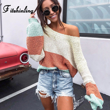 Fitshinling New Arrival Sweaters For Women Bright Colorful Knitted Jumper Pullover Femme Striped Autumn Winter Sweater Ladies