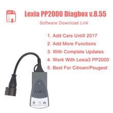 Mais novo diagbox v8.55 v7.83 atualização completa para lexia3 pp2000 lexia-3 diagbox 8.55 adicionar carro até 2017 para c-itroen/p-eogeot