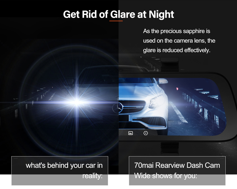 AliExpress | Dash camera auto integrată în oglindă de la 70 Mai, vedere fata + spate, HD, 23.7 cm, 130 grade vizibilitate, livrare din Polonia 8