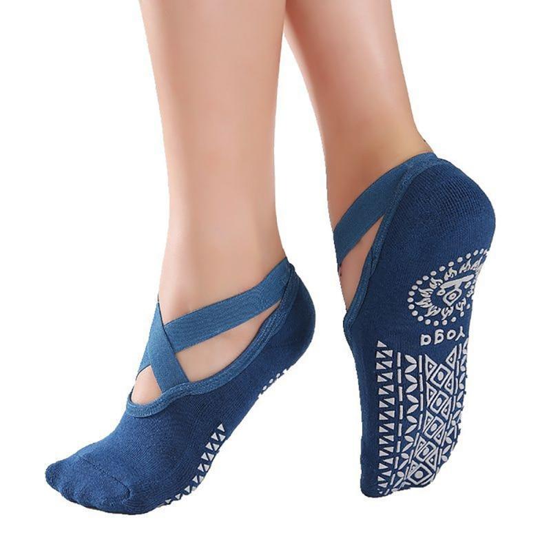 Cotton Non-slip Cross Band Terry Dance Socks Round Head Invisible Boat Socks Indoor Dance Ballet Socks