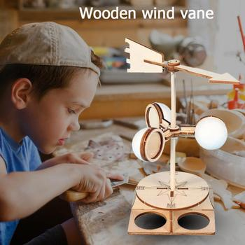 Students DIY Wind Vane Model Kit Wooden Kids Children Science Direction Speed Experiment Technology School Educational Toys